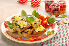Fresh healthy vegetarian sandwich with cheese and spinach Stock Images
