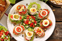 Fresh healthy vegetarian sandwiches for breakfast and salad Stock Image
