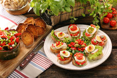 Fresh healthy vegetarian sandwiches for breakfast and salad Stock Photo