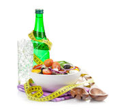 Fresh healty salad and soda water Royalty Free Stock Photos