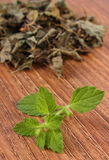 Fresh and heap of dried lemon balm on wooden table, herbalism Royalty Free Stock Photography