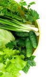 Fresh heap of greens. Fresh greens on white background Stock Image