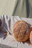 Fresh hearth bread in the cart with knife Royalty Free Stock Photo