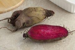 Fresh heirloom beets. Fresh red raw heirloom beets royalty free stock photo