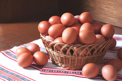 Fresh hen eggs Stock Photo
