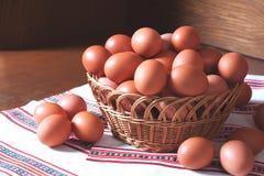 Fresh hen eggs Stock Photo