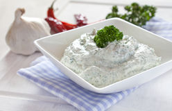Fresh herb cream cheese. Fresh herb cream chees in a bowl Royalty Free Stock Photography