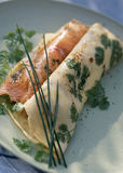 Fresh herb pancake with marinated salmon Royalty Free Stock Images