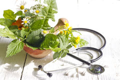 Fresh herb and stethoscope alternative medicine Stock Photo