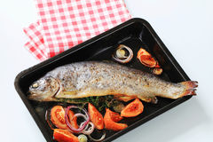 Fresh herb-stuffed trout and vegetable Stock Images