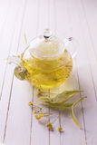 Fresh  herbal tea with linden Royalty Free Stock Images