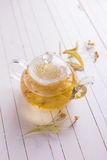 Fresh  herbal tea with linden Stock Photography