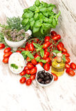 Fresh herbs basil, tomatoes, mozzarella and olive oil. Healthy f Royalty Free Stock Image