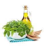 Fresh herbs in bowl Stock Photos