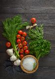 Fresh herbs collection. On a wooden background royalty free stock photography