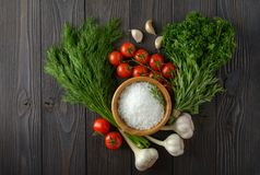 Fresh herbs collection on a wooden background stock photos