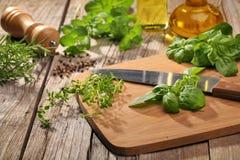 Fresh herbs on a cutting board Royalty Free Stock Photos