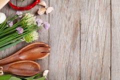 Fresh herbs on garden table Stock Photo