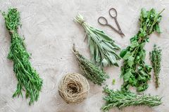 Fresh herbs and greenery for spices and cooking on stone desk background top view Stock Photo