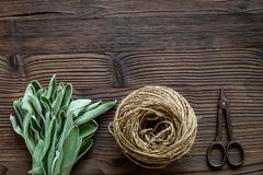 Fresh herbs and greenery for spices and cooking on wooden desk background top view mock up Stock Photo
