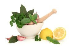Fresh Herbs and Lemon Stock Images