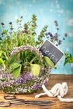 Fresh herbs in natural basket Royalty Free Stock Image