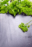 Fresh herbs  on old black wooden background Royalty Free Stock Image