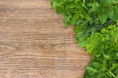 Fresh Herbs On Old Wooden Background Royalty Free Stock Photography