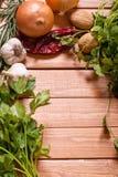Fresh herbs with onion, garlic and walnut. Various herbs with onion, garlic and walnut background royalty free stock photos