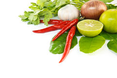 Fresh herbs and spices. (chilli, garlic, lemon, shallot, kaffir lime leaves Royalty Free Stock Image