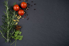 Fresh herbs and spices on dark slate background Royalty Free Stock Photos