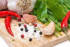 Fresh herbs, spices and salt on a wooden board, selective focus Royalty Free Stock Photo