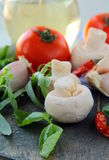Fresh herbs and spices, tomato, garlic, pepper Royalty Free Stock Photos