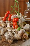 Fresh herbs and spices tomato , garlic, pepper Royalty Free Stock Photos