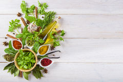 Fresh herbs and spices on a white wooden background Royalty Free Stock Photo