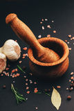 Fresh herbs and spices in wooden mortar Royalty Free Stock Photo