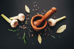 Fresh herbs and spices in wooden mortar Royalty Free Stock Image
