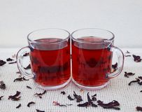 Hibuscus tea. Fresh hibiscus tea in glass mugs Stock Photography