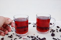 Hibuscus tea. Fresh hibiscus tea in glass mugs Royalty Free Stock Photo