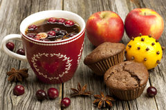 Fresh home baked  muffins with hot tea Royalty Free Stock Photos