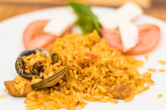 A fresh home made authentic paella rice tapas plate Stock Image