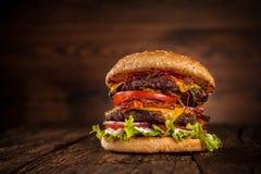 Fresh home-made hamburger served on wood Stock Image