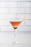 Fresh home made Manhattan cocktails with garnish Royalty Free Stock Photo