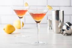 Fresh home made Manhattan cocktails with garnish Stock Image