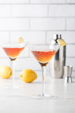 Fresh home made Manhattan cocktails with garnish Royalty Free Stock Photos