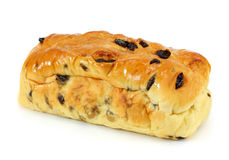 Fresh home made raisin bread. On white Royalty Free Stock Image