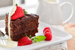 Fresh home made sticky chocolate fudge cake with strawberries and raspberries Royalty Free Stock Image