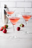 Fresh home made strawberry margarita cocktails Royalty Free Stock Photos