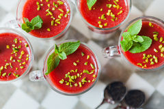 Fresh home made strawberry yoghurt dessert. With pepermint leaf Royalty Free Stock Photography