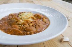 Fresh homecook spaghett on wooden table Stock Images